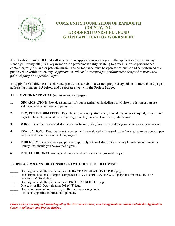 Goodrich Bandshell Grant Application Worksheet Community