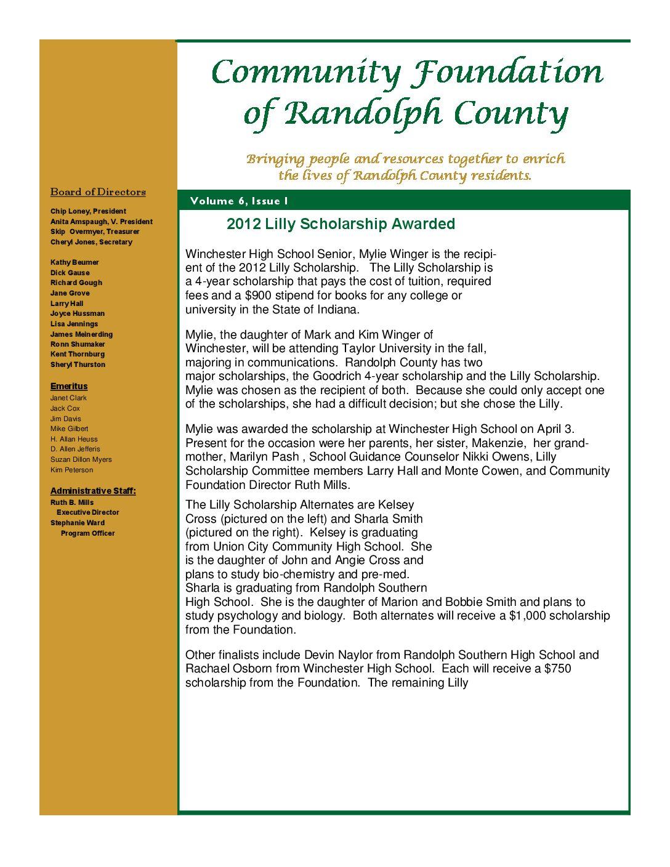 Spring 2012 Newsletter | Community Foundation of Randolph County